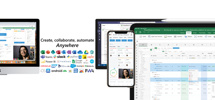 PowerSheet.ai: The Free All-in-One No-Code Remote Collaboration Platform for Auto Mobile 2.0 Apps, Analytics, Excel, Microsoft Teams, RPA, Blockchain DB