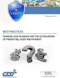Best Practices: Financial due Diligence and the Outsourcing of Freight Bill Audit and Payment